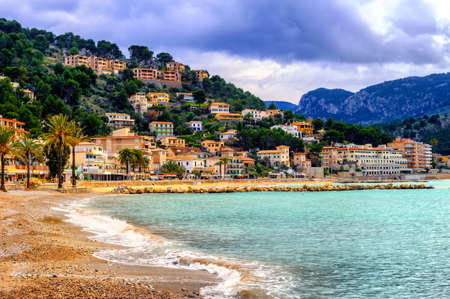 Port de Soller is a popular resort town with a sand beach on Mallorca, Balearic Islands, Spain