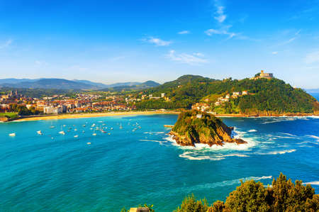 San Sebastian (Donostia) city, view over La Concha bay to Santa Clara island and famous golden sand beaches, Spain