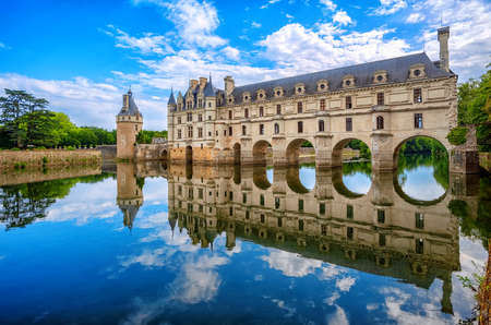 Chenonceaux, France - July 07 2017: The Renaissance Chateau de Chenonceau, built in the XVIth century, is one of the most beautiful castles of the Loire Valley Editorial
