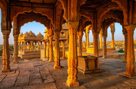 Ornamented Bada Bagh historical stone cenotaphs in Jaisalmer, Rajasthan, India