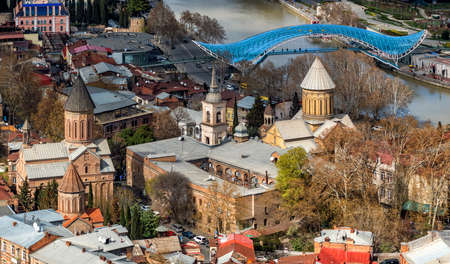 Tbilisi Old town, Georgia, with Sioni Cathedral, the Bridge of Peace, Jvaris Mama church and Kura river