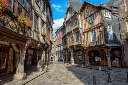 Dinan Old town, historical half-timber houses in the city center, Brittany, France