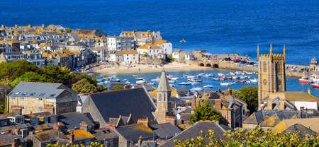 Panoramic view of St Ives Old town, a popular seaside resort on atlantic coast, Cornwall, United Kingdom Stock fotó