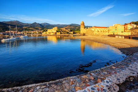 Collioure, France, a popular resort town on Mediterranean sea, view of the Notre-Dame des Anges church and royal castle