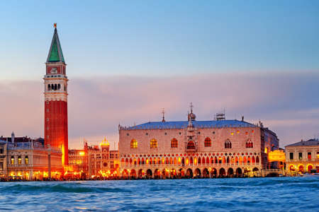 Venice, Italy, view of the Doges Palace, Campanile and San Marco square in the evening light