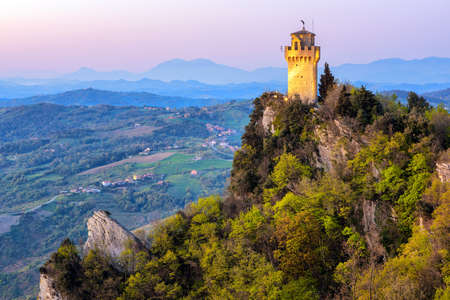 Montale, the Third of the Three Towers of San Marino, on the top of Mount Titano rock in sunrise light, Republic of San Marino 版權商用圖片
