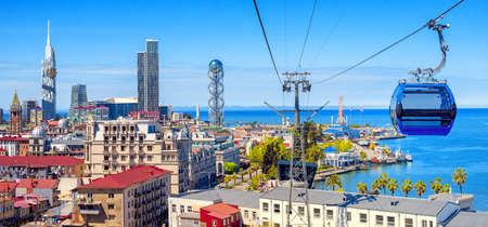 Batumi city, Georgia, panoramic view of the Old town, skyline and port from a cable car cabin