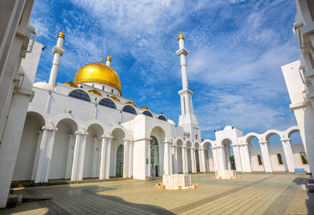 Astana, Kasakhstan, the inner yard of Nur Astana mosque, one of the biggest mosques in Central Asia