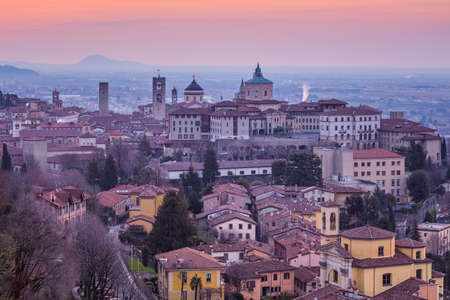 Bergamo historical city, Lombardy, Italy, aerial view of towers and domes of the Old Town 版權商用圖片
