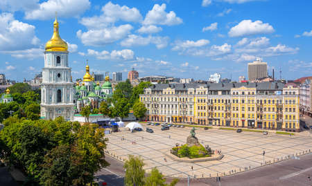 Kiev, Ukraine, city view with St. Sophias golden dome christian orthodox cathedral with its Bell Tower on a beautiful sunny summer day