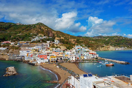Beautiful village SantAngelo on Ischia island, Naples, Italy, is a popular tourist resort famous for its sand beaches and traditional mediterranean lifestyle