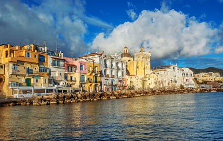Colorful Ischia town waterfront, Ischia island, Gulf on Naples, Italy
