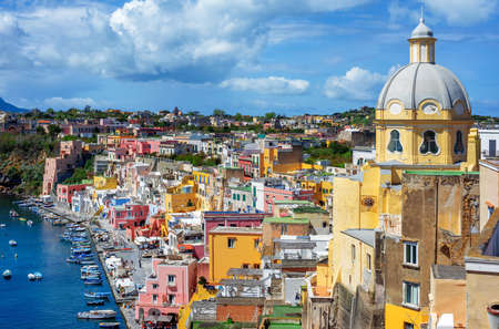 Marina Corricella, the colorful Old town and historic center of Procida island, Naples, Italy 版權商用圖片