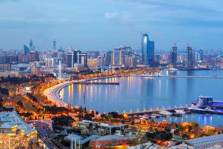 Baku city, Azerbaijan, view of the modern skyline on the Caspian sea coast