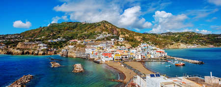 Panoramic view of the beautiful village SantAngelo on Ischia island, Naples, Italy, is a popular tourist resort famous for its sand beaches and traditional mediterranean lifestyle