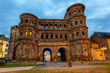 Porta Nigra, an ancient roman gate in Trier, Germany, is the main historical landmark