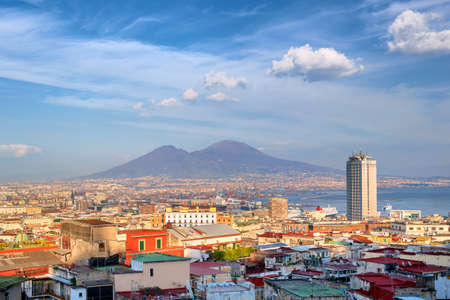 View of Naples city and port with Mount Vesuvius, Mediterranean sea, Italy