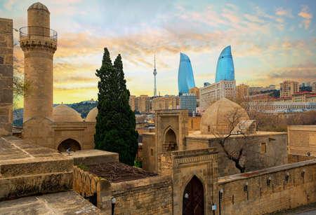 Baku city, Azerbaijan, view of the historical mosques 版權商用圖片