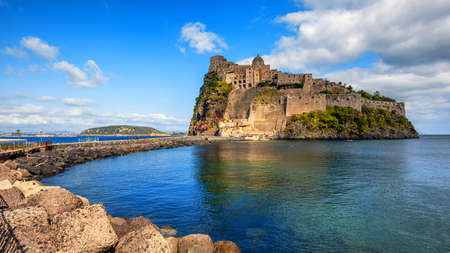 Aragonese castle is the most visited historical landmark on Ischia island in Gulf of Naples, Italy 新聞圖片