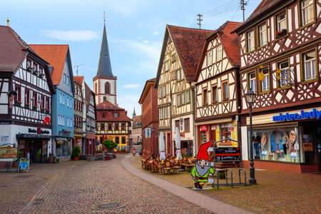 Lohr am Main, Germany - June 01, 2019: Medieval historical town Lohr am Main, Germany, famous for its half-timbered houses, claims to be the place of Grimms fairy tale Snow White and the Seven Dwarfs