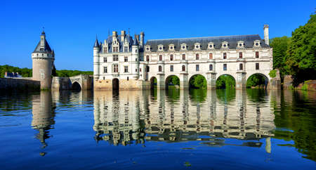 Chenonceaux, France - July 07 2017: The Renaissance Chateau de Chenonceau, built in the XVIth century, is one of the most beautiful castles of the Loire Valley
