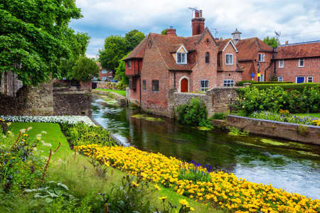 Stour river banks in Canterbury town, Kent, England, United Kingdom