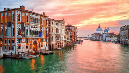 Dramatic sunrise on Canal Grande in Venice, Italy