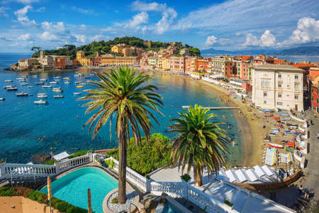 Bay of Silence in Sestri Levante, Italy. Sestri Levante is a popular resort town in Liguria, situated on a peninsula on italian Mediterranean sea coast between Genoa and Cinque Terre,