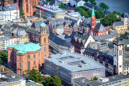 Frankfurt on Main city, Germany, aerial view of half-timbered houses in the historical Old town