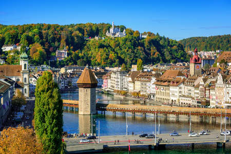 Lucerne city, Switzerland, aerial view of wooden Chapel bridge and of historical Old town famous for its medieval architecture