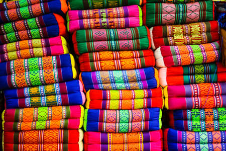 Colorful woven pillow photo