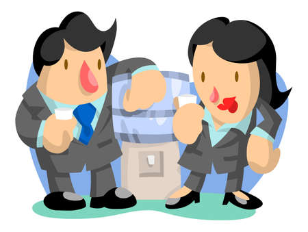 Business man and woman at water cooler Vector