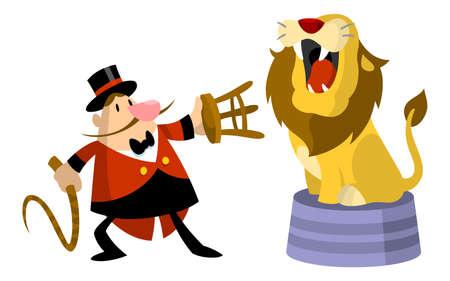 갈라진 금: 사자와 사자 조련사 일러스트