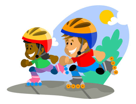 spring roll: Boy and girl rollerblading