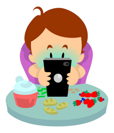 using smart phone: Baby on phone instead of eating his meal