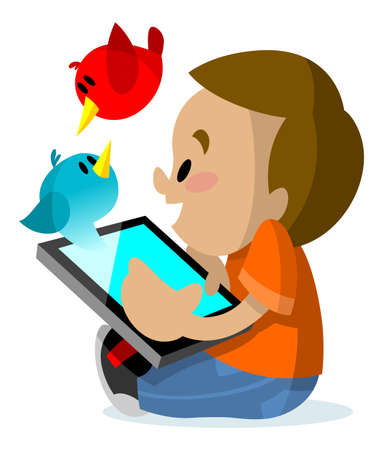 playing video games: Boy playing with his tablet and imagination