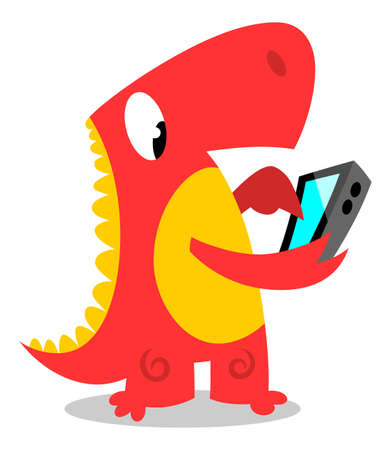 using smart phone: Dinosaur using smart phone Illustration