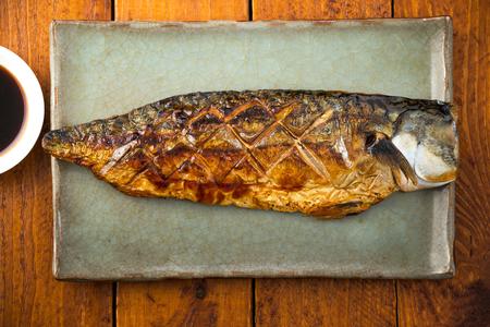Saba fish grill on plate 版權商用圖片