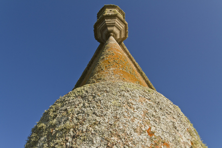 low angle view: Old fortress tower. Low angle view.