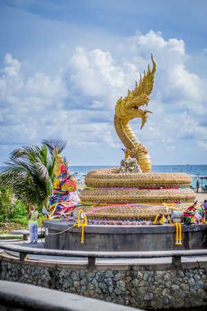 naga china: Golden dragon statue,Phuket,Thailand