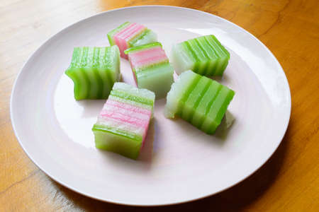 chan: Thai native ancient dessert, layer jelly cake Kanom chan
