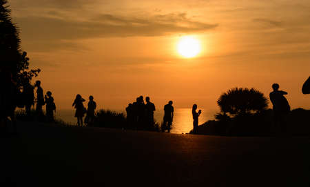thep: People come to see sunset at Laem Phrom Thep, Phuket, South of thailand, siluate Stock Photo