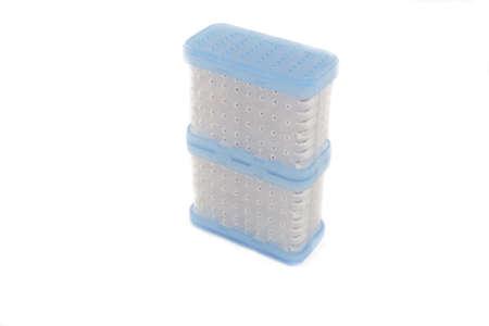 silica: desiccant silica gel bag isolated on white Archivio Fotografico