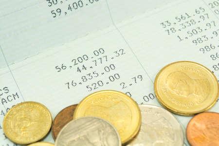 passbook: Thai money bath on Saving Account Passbook Stock Photo