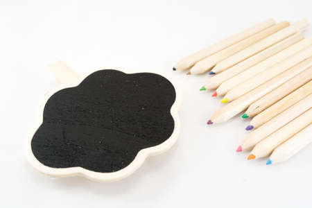 The frame as a cloud with color pencil on white background Stock Photo