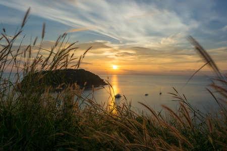 Sunset at Windmill View Point Phuket, Phuket, South of thailand Stock Photo