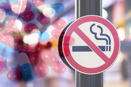 Don't smoke sign with Medicine background
