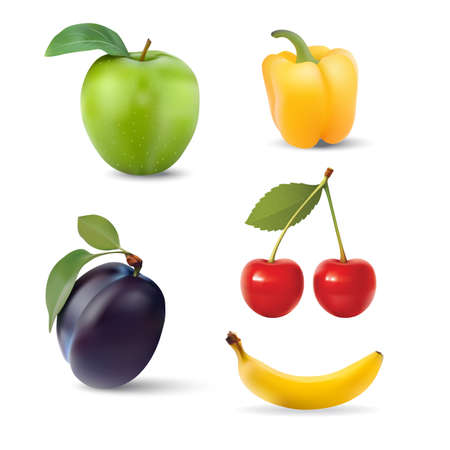 category: Big group of different fruit. Vector. Illustration