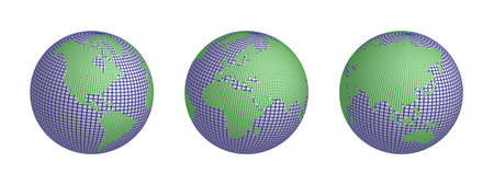World in wire and mesh 3 globes showed all of the continents