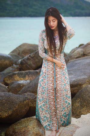 maxi dress: Bohemian dress on the rocky shore